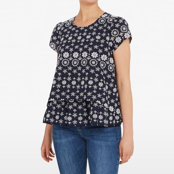FLOWER EMBROIDERED PEASANT SHIRT  NOCTURNAL/SUMMER WHI  hi-res
