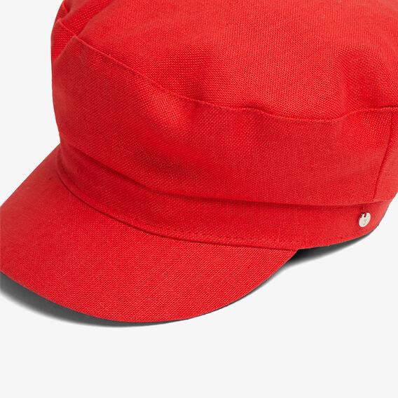 RED LINEN PAPERBOY HAT  RED  hi-res