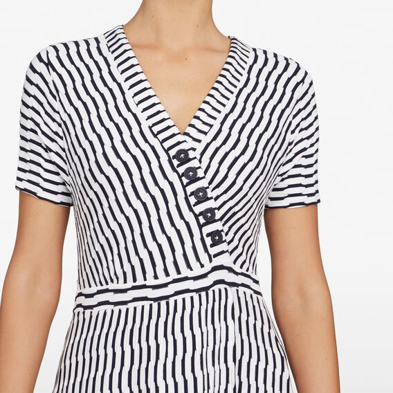 TEXTURED STRIPE WRAP DRESS  SUMMER WHITE/NOCTURN  hi-res