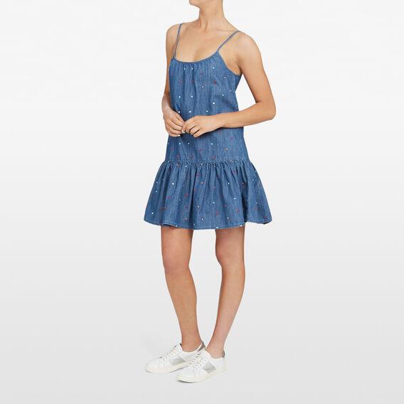 DENIM  SPOT FRILL DRESS  STONE WASH/MULTI  hi-res