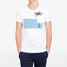 WAVEY PALM CREW NECK T-SHIRT  WHITE  hi-res