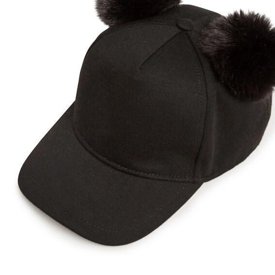 DOUBLE POM POM CAP  BLACK  hi-res
