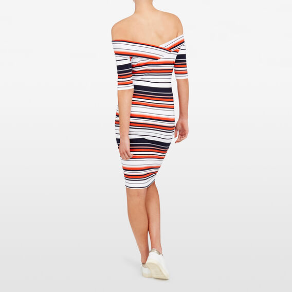 JERSEY STRIPE  BANDAGE DRESS  SUMMER WHITE/NOCTURN  hi-res