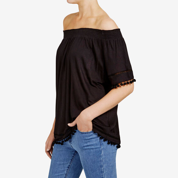 POM POM OFF SHOULDER TEE  BLACK  hi-res