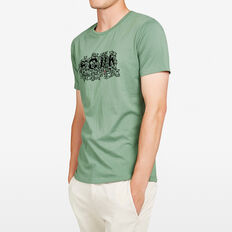 RUDE BEAR ON THE BEACH CREW NECK T-SHIRT  OLIVE  hi-res