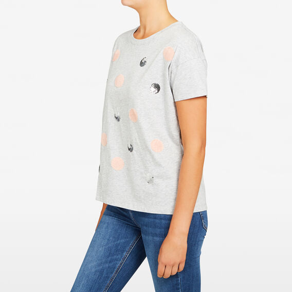 FLUFFY SPOT TEE  GREY MARLE/BLUSH/COP  hi-res