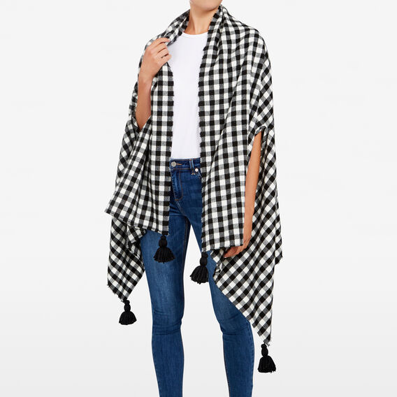CHECK PONCHO  BLACK/WHITE  hi-res
