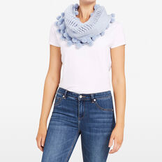 ENDLESS KNITTED SCARF  PALE BLUE MARLE  hi-res
