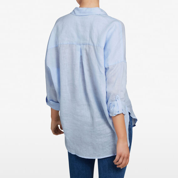 LINEN POPOVER SHIRT  LIGHT BLUE  hi-res