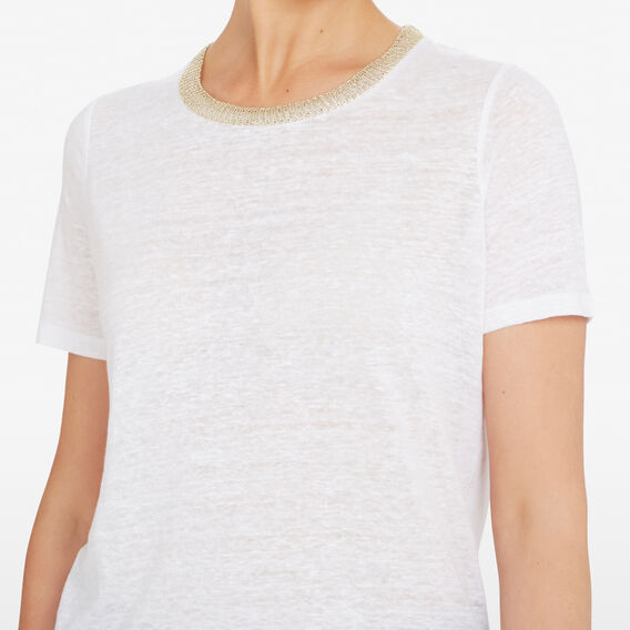 METALLIC NECK TEE  SUMMER WHITE/GOLD  hi-res