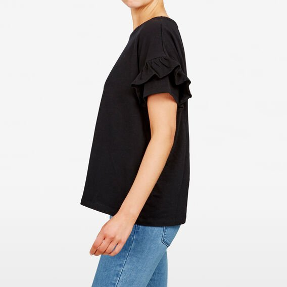 RUFFLE SLEEVE TEE  BLACK  hi-res