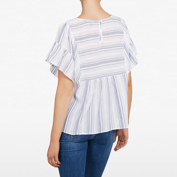 TIERED STRIPE SHIRT  SUMMER WHITE/NOCTURN  hi-res