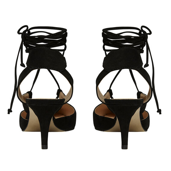LACE UP KITTEN HEEL  BLACK  hi-res