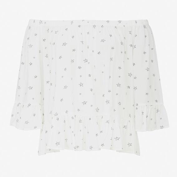 STAR OFF SHOULDER RUFFLE SHIRT  SUMMER WHITE/BLACK  hi-res