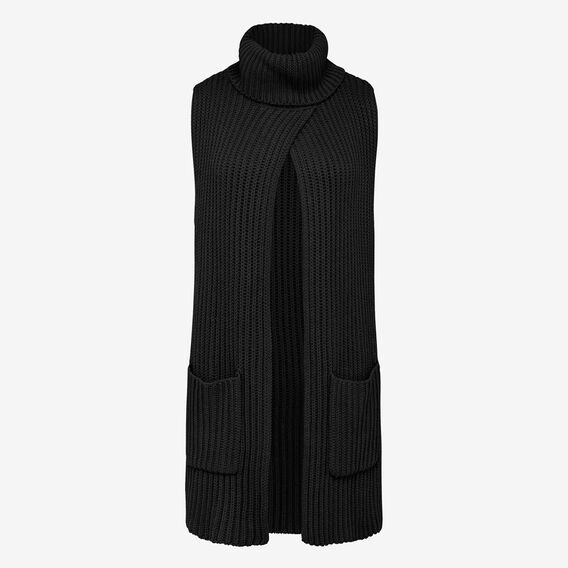 RIBBED ROLL NECK SCARF PONCHO  BLACK  hi-res