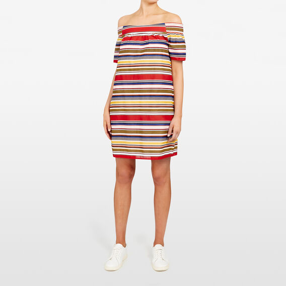STRIPE OFF SHOULDER DRESS  MULTI  hi-res
