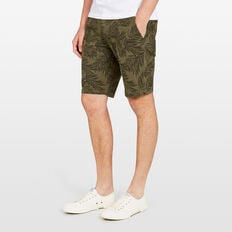 TONAL PALM LINEN BLEND SHORT  OLIVE  hi-res