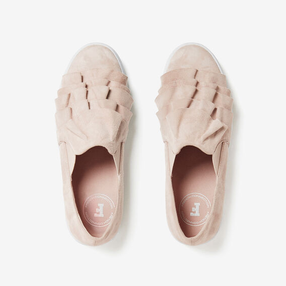 SUEDE RUFFLE PLIMSOLE  LIGHT PINK  hi-res