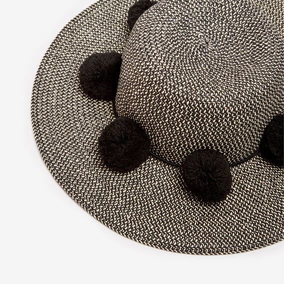 POM POM WIDE BRIM  BLACK  hi-res