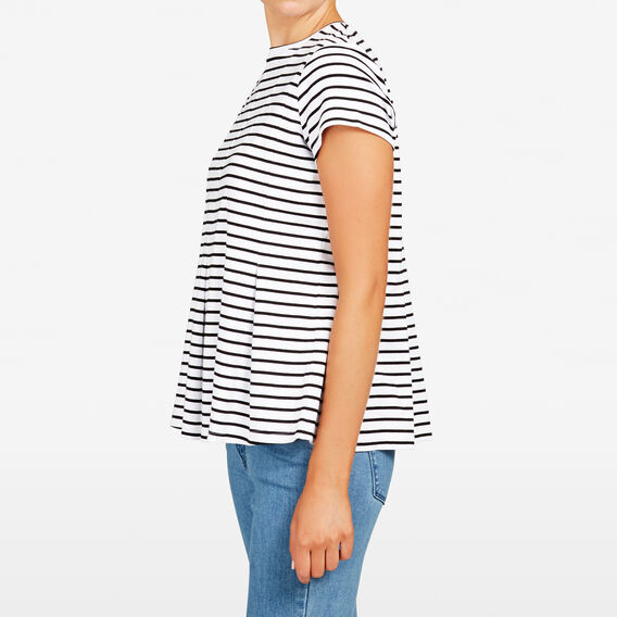 PLEATED STRIPE TEE  SUMMER WHITE/BLACK  hi-res
