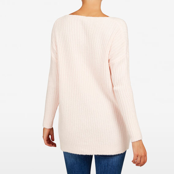 V NECK LONGLINE KNIT  BLUSH  hi-res