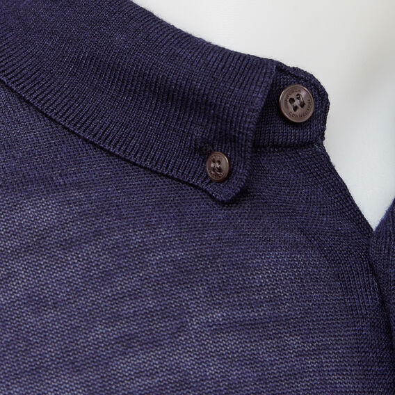 MERINO WOOL LONG SLEEVE POLO  MARINE BLUE  hi-res