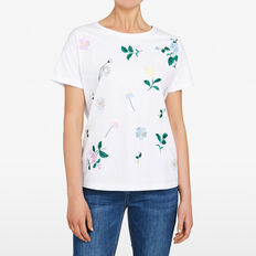FLORAL EMBROIDERED TEE  SUMMER WHITE/MULTI  hi-res