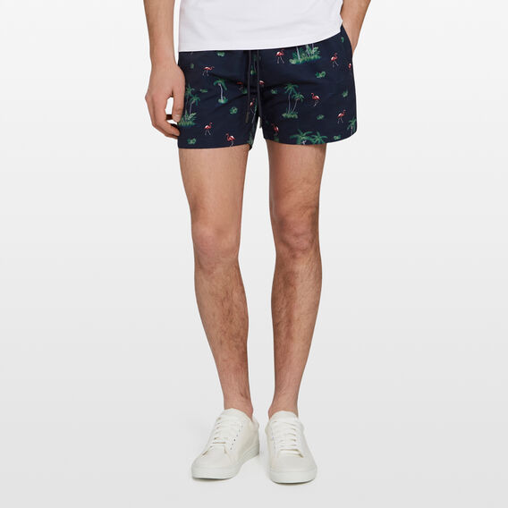 RETRO FLAMINGO SWIM SHORT  MARINE BLUE  hi-res