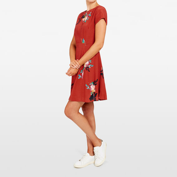 FLORAL TEA DRESS  RUST MULTI  hi-res