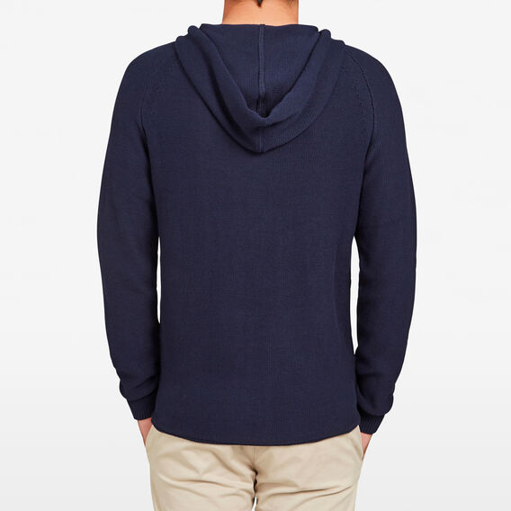 POP OVER KNITTED HOODIE  MARINE BLUE MARLE  hi-res