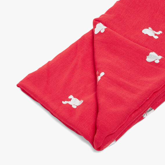 LUCKY POODLE SCARF  RED/SILVER  hi-res