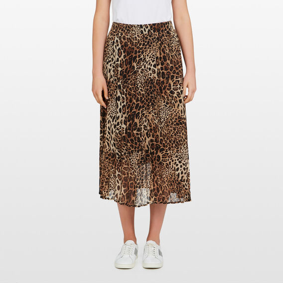 ANIMAL PRINTED PLEATED SKIRT  MULTI  hi-res