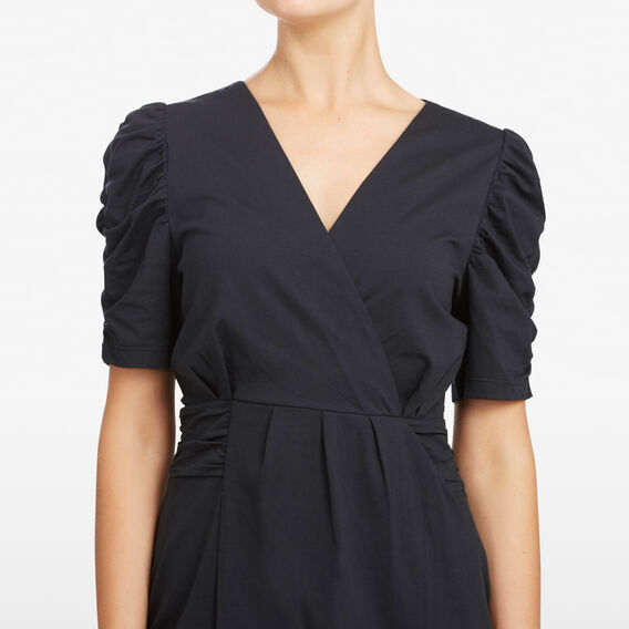 RUCHED SLEEVE WRAP DRESS  BLACK  hi-res