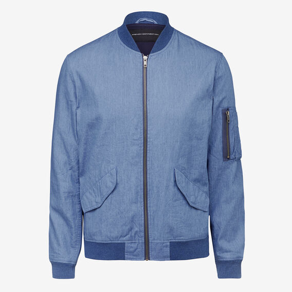 WASHED CHAMBRAY BOMBER  CHAMBRAY BLUE  hi-res