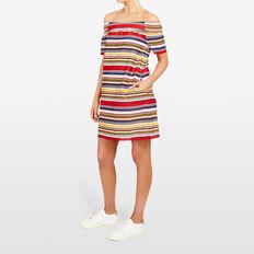 STRIPE OFF SHOULDER DRESS  MULTI  hi-res