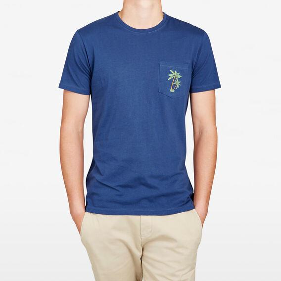 EMBROIDED PALMS POCKET CREW NECK T-SHIRT  SNORKEL BLUE  hi-res