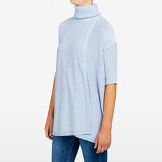 ROLL NECK RIB PONCHO  PALE BLUE  hi-res