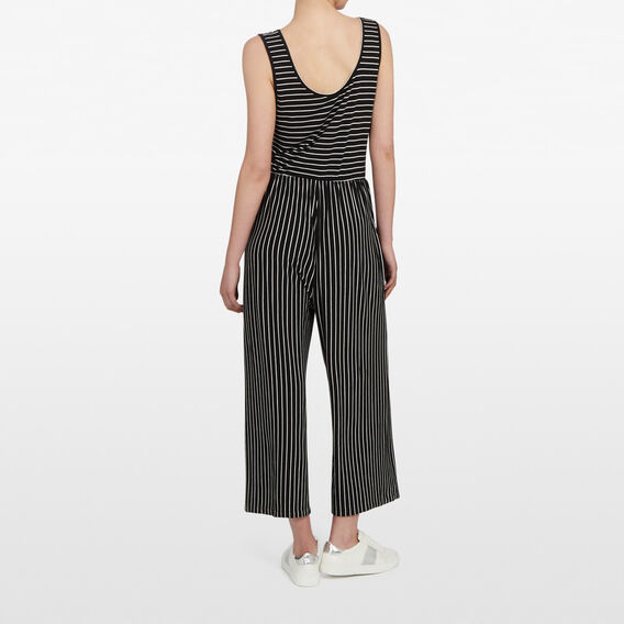 STRIPE JERSEY JUMPSUIT  BLACK/SUMMER WHITE  hi-res