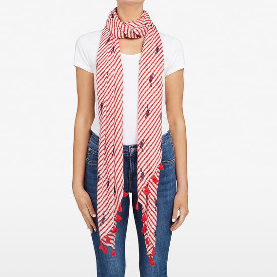 HANGING CRAB SCARF  SUMMER WHITE/RED/NOC  hi-res