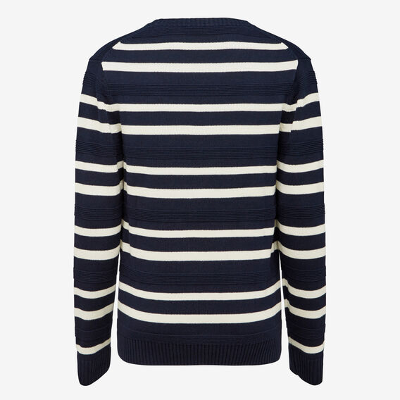 CAPITAL STRIPE CREW NECK KNIT  MARINE BLUE/ECRU  hi-res