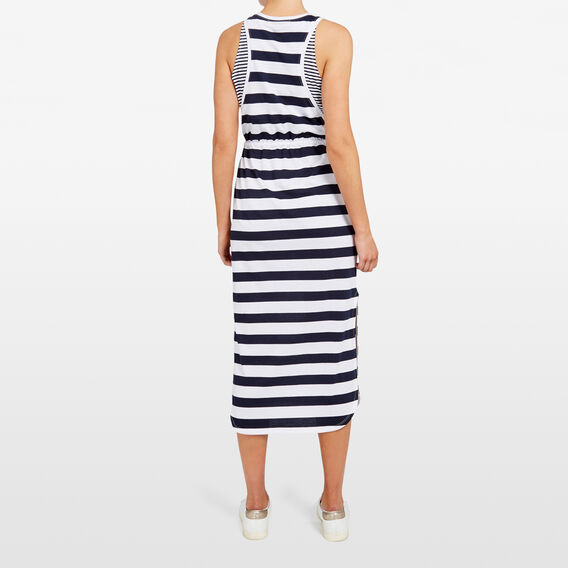 STRIPE JERSEY MAXI DRESS  SUMMER WHITE/NOCTURN  hi-res