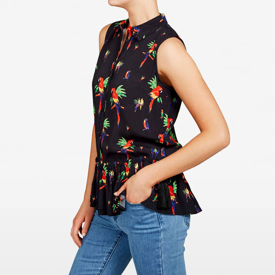 PRINTED PEPLUM SHIRT  BLACK/MULTI  hi-res