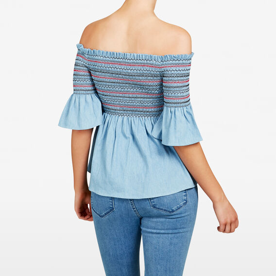 CHAMBRAY OFF SHOULDER SHIRT  CHAMBRAY  hi-res