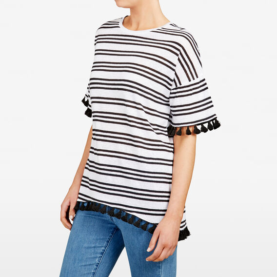 STRIPE TASSEL TEE  SUMMER WHITE/BLACK  hi-res