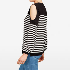 COLD SHOULDER STRIPE KNIT  BLACK/SUMMER WHITE  hi-res
