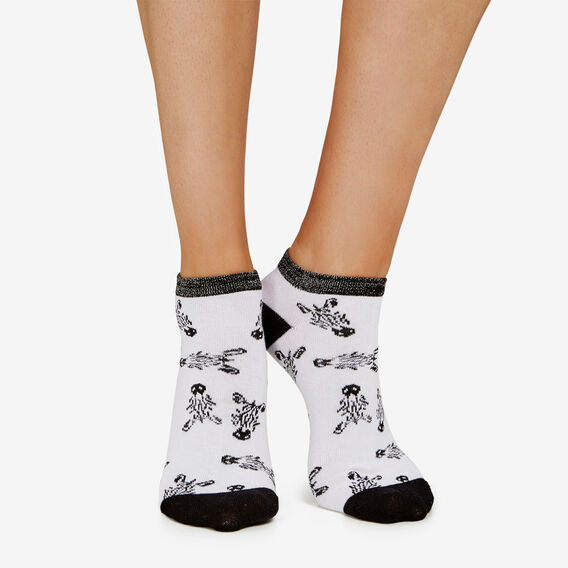 ZEBRA ANKLE SOCK  WHITE/BLACK/SILVER  hi-res