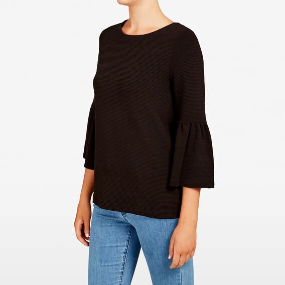 BELL SLEEVE RIB TEE  BLACK  hi-res