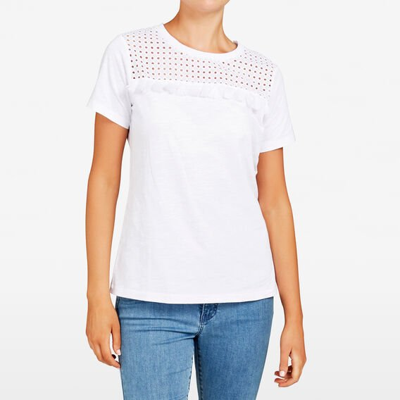 TASSEL YOKE TEE  SUMMER WHITE  hi-res