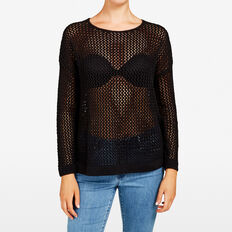OPEN WEAVE KNIT  BLACK  hi-res