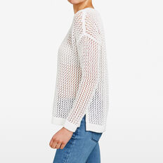 OPEN WEAVE KNIT  SUMMER WHITE  hi-res